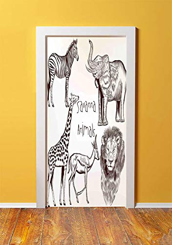 Safari 3D Door Sticker Wall Decals Mural Wallpaper,Collection of Tropic African Asian Wild Savannah Animals Lion Giraffe Zebra Graphic,DIY Art Home Decor Poster Decoration 30.3x78.13447,Cream - Handle Double Savannah