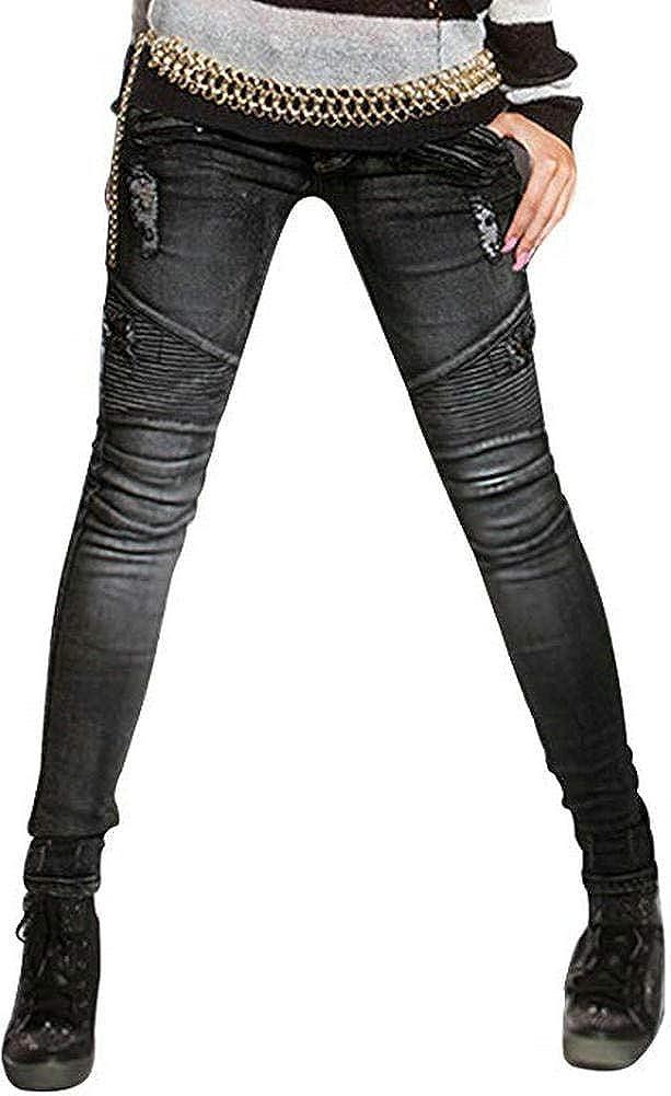 Womens Ripped Moto Biker Stretch Skinny Jeans