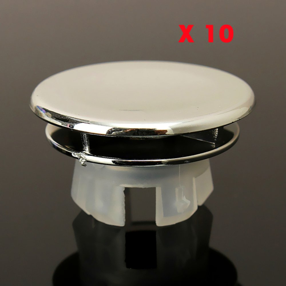 new DIY ( pack of 10 )Bathroom Sink Basin Chrome Trim Overflow Hole Round Cover Silver by NEW
