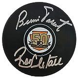 Ron Hextall Bernie Parent Signed Flyers 50th Anniversary Logo Puck JSA