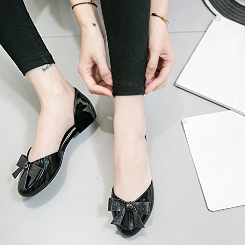 Amiley Low Heel Flat Shoes, Women Office Work Bow Round Toe Crystal Jelly Shoes Slip On Casual Shoes Sandals Black