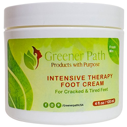 Foot Cream Intensive Therapy By Greener Path - Moisturizer For Dry, Cracked & Swollen, Feet & Heels - Freshens Tired Feet With Natural Heating & Cooling Action- From Natural Ingredients - Fresh (Cooling Foot Lotion)