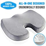 Seat Cushion for Office Chair and Car – Non-Slip Orthopedic 100% Memory Foam Coccyx Cushion for Tailbone Pain,Office Desk Cushion for Back Pain & Sciatica Relief,Best for Adults 150-220 lbs