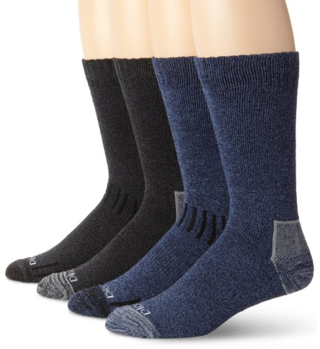 Dickies Men's 4 Pack All Season Marled Moisture Control Crew Socks, Assorted, Sock Size:10-13/Shoe Size: 6-12