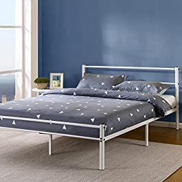 Zinus 12 Inch White Metal Platform Bed with Headboard and Footboard/Mattress Foundation