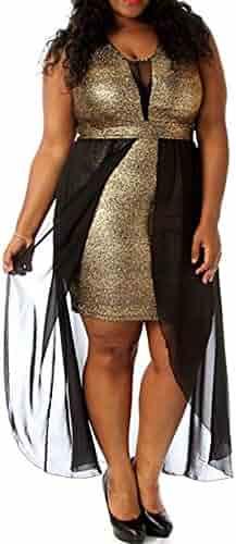 8514 - Plus Size Black Mesh Chiffon Hi Low Layered Cocktail Metallic Gold  Dress 6a9a94046