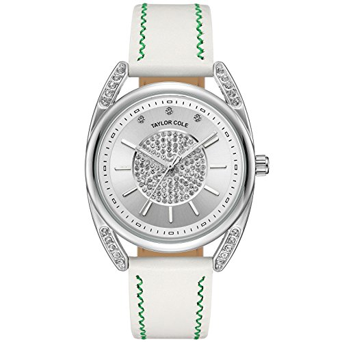 Taylor Cole Women's Watch Ladies' Crystal Dial Quartz Leather Band Wrist Watch Silver White TC137