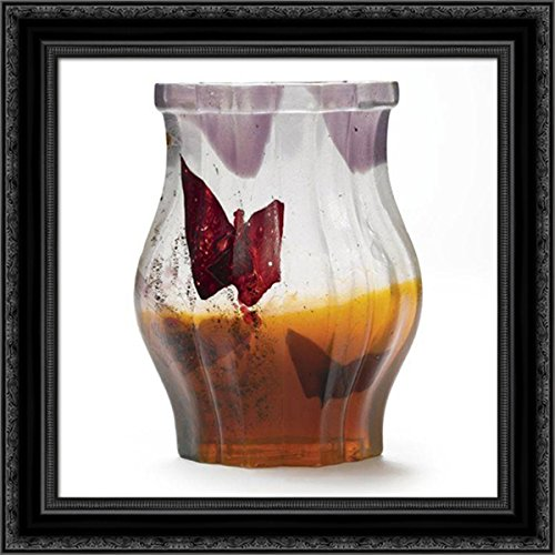 Papillon Verre Parlant Vase 20x20 Black Ornate Wood Framed Canvas Art by Emile Galle