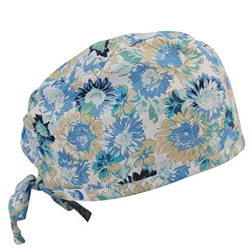 GUOER Women's and Men's Scrub Cap Scrub Hat One Size Multiple Color - Cap Scrub Blue