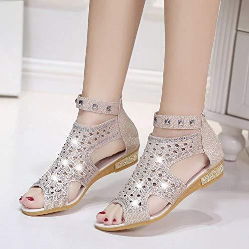 Creuse Chaussures De Printemps Bouche Compensées Été Mode Dames Trydoit Roma Sandales Beige Femmes 34Lj5ARq