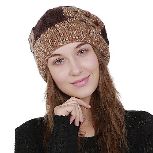 (URIBAKE Women's Knitting Wool Beanies Color Block Winter Hat Ski Ladies' Crochet Cap Pom)