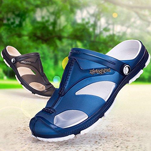 Clogs De Respirable Mulas Outdoor Walking Zuecos Azul Sandalias Zapatillas 45 WuXi Hombres Jardín 40 Verano Zapatos Azul Zapatillas Zuecos Verano Zapatos Negro Gris Playa Mulas AdwqOF