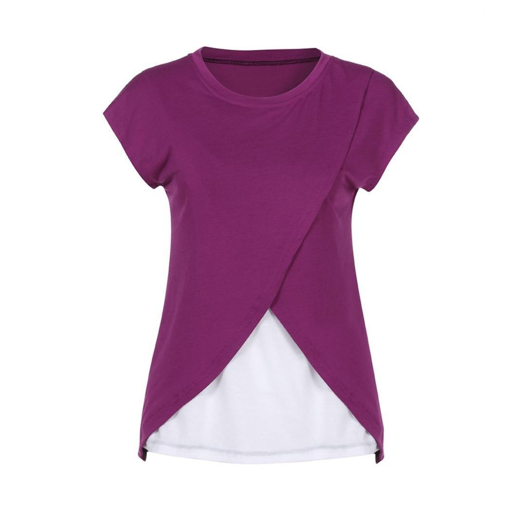 Gusspower Blusas para Mujeres Embarazadas,Patchwork Camisa de Manga Corta para Mujer Casual Camiseta Mujer Ropa de Mujer en Oferta Talla Grande Moda Tops Blusas de Capa Doble