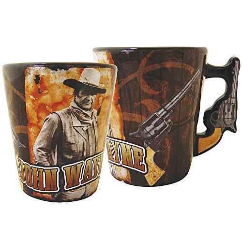 John Wayne 2 Sided Ceramic Pistol Handle 2.5 oz Shotglass w/