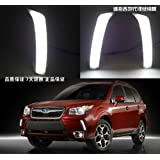 2PCS LED DRL Driving Fog Lamp Day Time Light Running Day Turn Signal Cover Kit Fit For Subaru Forester 2013