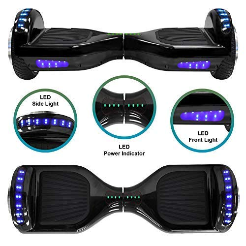 NHT 6.5'' Hoverboard Electric Self Balancing Scooter Sidelights - UL2272 Certified Black, Blue, Pink, Red, White or Chrome Style (102 Black) by NHT (Image #2)