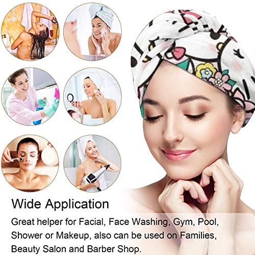 Hair Towel Wrap Turban Hello Kitty And Dear Daniel Microfiber Drying Bath Shower Head Towel With Button, Dry Hair Hat
