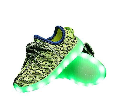 2017 Sommer neue Kokosnuss Kinder Schuhe fliegende Weben Ladung LED Licht Schuhe Grün