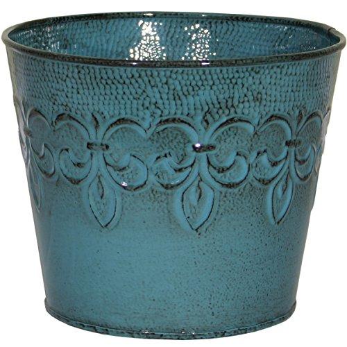 Robert Allen MPT01890 Fluer De Lis Series Metal Planter Flower Pot, 6