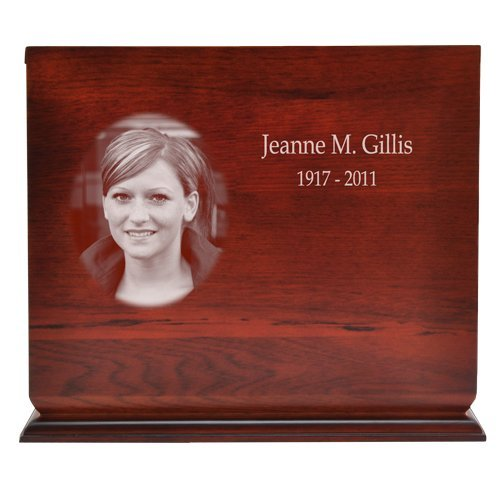 Cherry Finish Slide Top Wood Urn (Photo Engraved) by Memorial Gallery