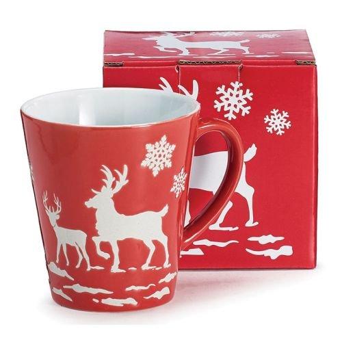 Burton & Burton 9730228 Mug 11Oz Astd Christmas Scenes Embossed White Deer and Snowflakes, Red and White (Christmas Snowflake Mug)