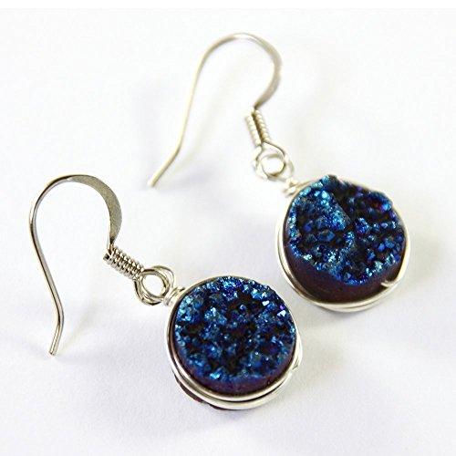 Dark Blue Druzy Crystal Earrings - Sterling Silver Wire Wrapped Jewelry (Druzy Wire)