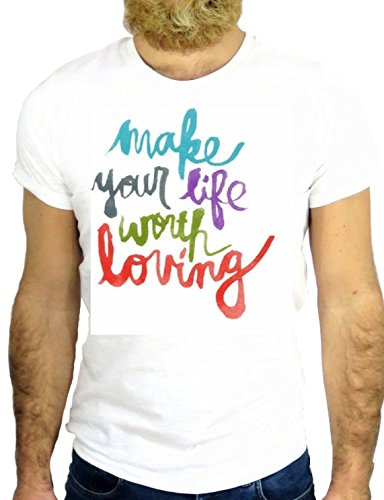 T SHIRT JODE Z2443 MAKE YOUR LIFE WORTH LOVING LOVE NY COOL USA FUN ROMANTIC GGG24 BIANCA - WHITE L