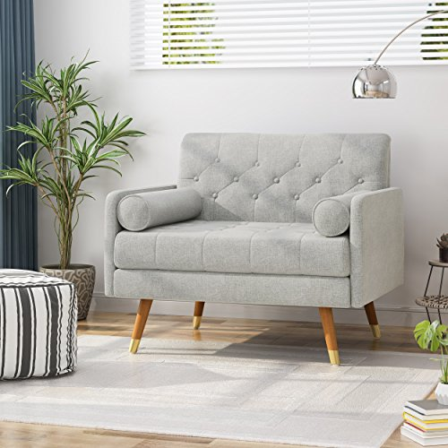 Christopher Knight Home 305844 Nour Fabric Mid-Century Modern Club Chair, Light Gray, Natural
