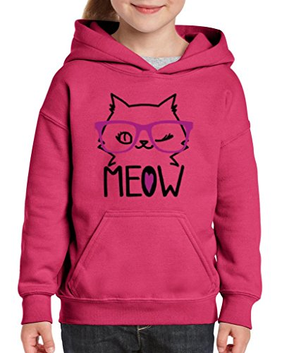 Xekia Meow Cute Pets Cat w Pink Eyeglasses Hoodie For Girls and Boys Youth Kids Medium Heliconia Pink ()