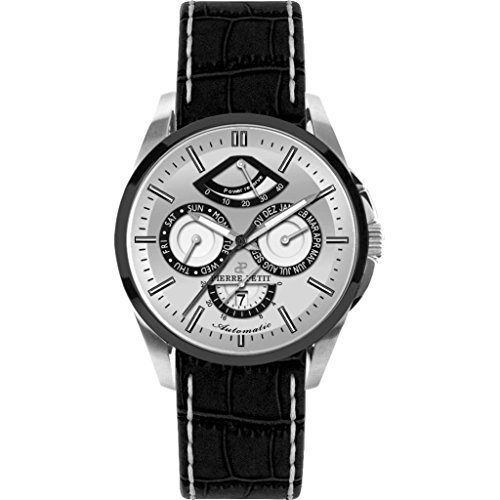 Pierre Petit Men's P-822B Le Mans Stainless Steel Day Date Power Reserve Luminous Black Anti Allergic Genuine Leather Watch