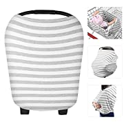Zooawa Nursing Breastfeeding Cover, Soft Cotton Mulit-Use Cover for Baby Breast Feeding Essentials, Baby Car Seat Canopy, Stroller, Shopping Cart Cover, Nursing Scarf