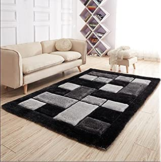 NEW GREY SILVER BLACK BLOCKS DESIGN LUXURIOUS THICK PILE RUG MODERN SOFT SILKY CONTEMPORARY SHAGGY RUGS