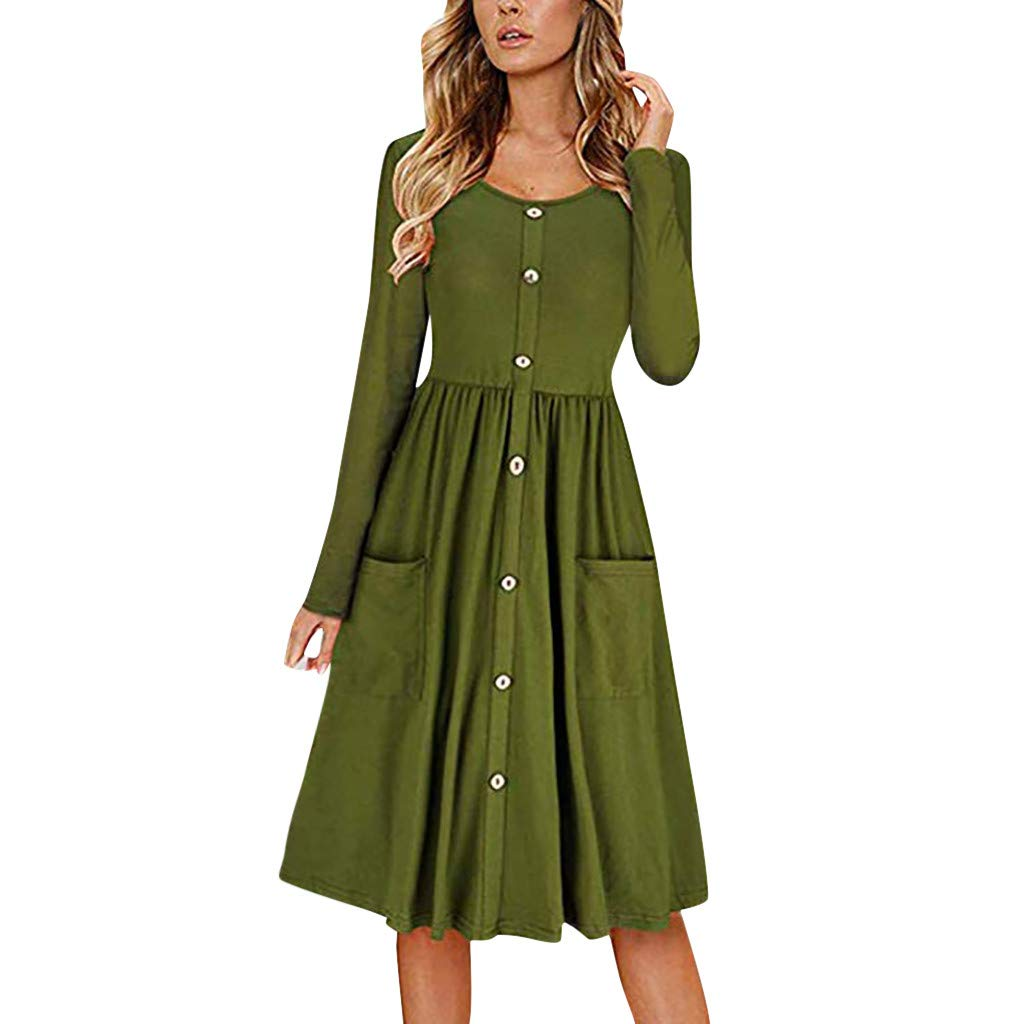 Quelife Dress for Women Solid Color O Neck Button Maxi Dresses Long Sleeve Casual Beach Skirt with Pocket (Green,L) by Quelife