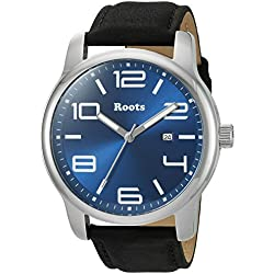 Roots Men's 'Core' Quartz Stainless Steel and Leather Casual Watch, Color:Black (Model: 1R-LF420BU2B)