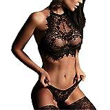 Challyhope Women's Sexy Lingerie Set Halter Lace Bra +Panty Nighty Teddy Babydoll Set (M, Black)