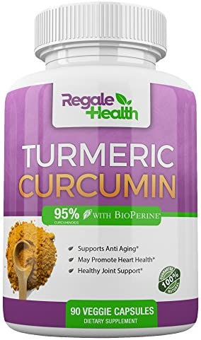 Regale Health Turmeric Curcumin Supplement 1950mg with Black Pepper Extract High Potency 95 Curcuminoids Joint Pain Relief Anti-inflammatory Antioxidant Brain Health 90 Capsules Non GMO