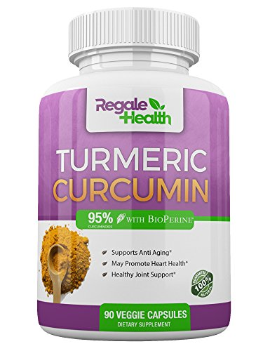 Turmeric Curcumin Supplement~1950mg with Bioperine Black Pepper~High Potency 95% Curcuminoids~Joint Pain Relief Anti-inflammatory Antioxidant by Regale Health~90 Capsules~Non GMO Gluten Free