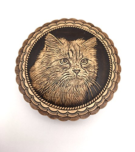 Cat Unique gift Russian box Birch Bark wood hand carved - Boxes Bark Birch
