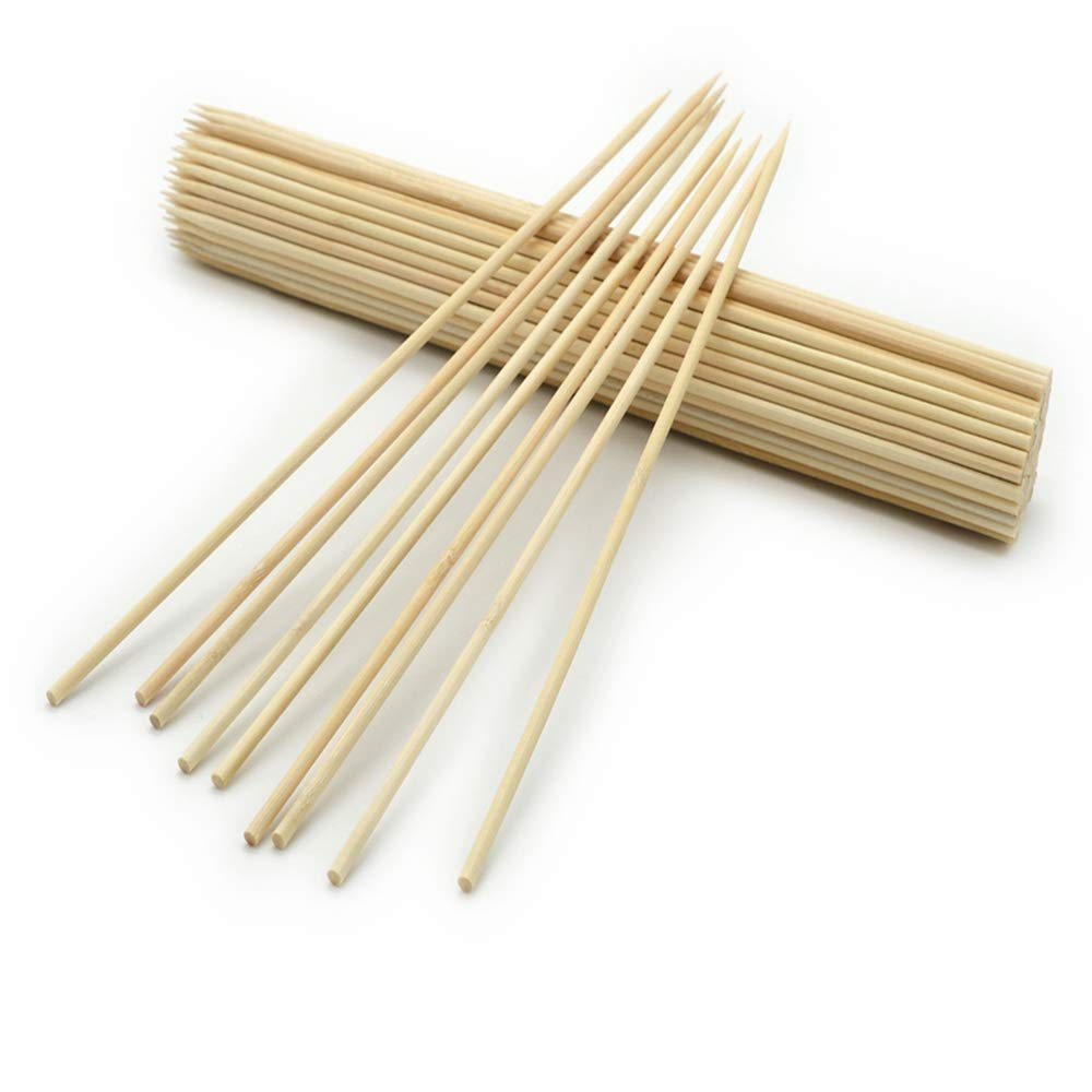 ZMLin Bamboo Skewers Sticks, Natural BBQ Skewers Marshmallow Roasting Sticks 12In Set of 200PCS Perfect for Weddings BBQ Outdoor Indoor Grill Party