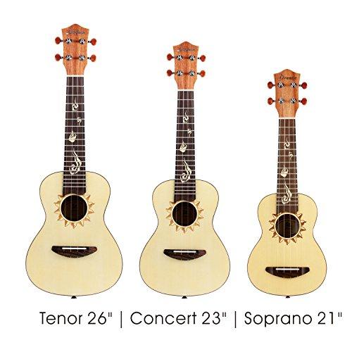 Donner Soprano Ukulele Spruce DUS-3 21 inch with Ukulele Set Strap Nylon String Tuner - Image 6