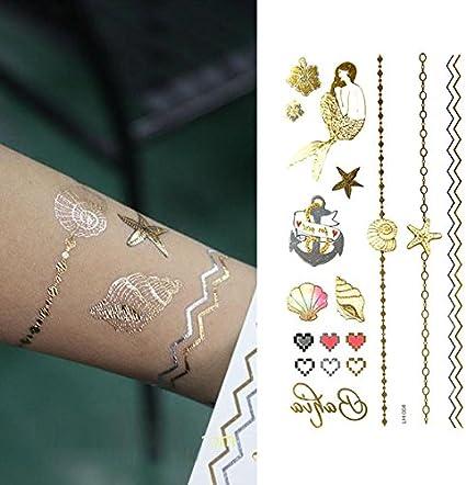 Oottati Tatuajes Temporales Dorados Metalicos Purpurina Shell De ...