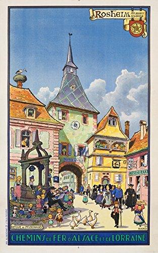 Rosheim - Chemins de Fer d'Alsace et de Lorraine Vintage Poster (artist: Hansi) France c. 1930 (9x12 Art Print, Wall Decor Travel Poster)