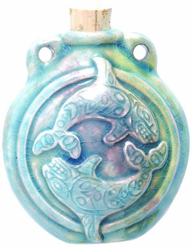 Peruvian Hand Crafted Ceramic Raku Glazed Orca Whales Bottle Pendant, 40 by (Handcrafted Hemp Necklace)