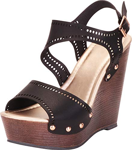(Cambridge Select Women's Open Toe Laser Cutout Studded Chunky Platform Wedge Sandal,8.5 B(M) US,Black PU)