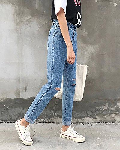 Pantalons Femme Avec Dchirs Haute Denim Rtro Trous Comme Image Taille Jeans En qaq0rH