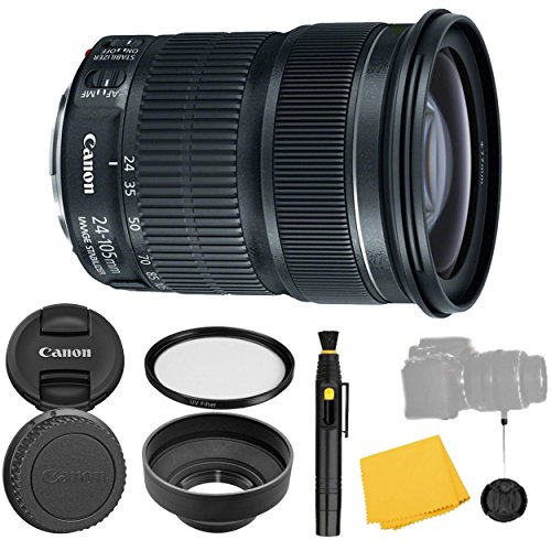 Canon EF 24-105mm f/3.5-5.6 IS STM Lens + UV Filter + Collapsible Rubber Lens Hood + Lens Cleaning Pen + Lens Cap Keeper + Cleaning Cloth - 24-105mm STM: Stepper Motor Lens - International Version
