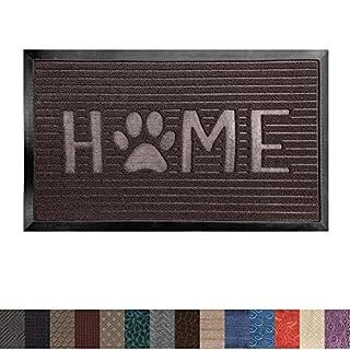 Gorilla Grip Original Durable Rubber Door Mat, 35x23, Heavy Duty Doormat for Indoor Outdoor, Waterproof, Easy Clean, Low-Profile Rug Mats for Entry, Patio, High Traffic Areas, Dark Brown Home Paw