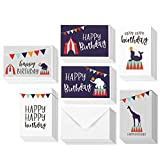 48 Pack Happy Birthday Cards - Blank Greeting Cards - Greeting Cards Bulk Happy Birthday Card Set - Children's Birthday Cards - 6 Carnival Style Circus Animal Designs - Envelopes Included, 4x6 Inches