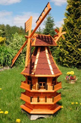 Windmühle 3 stöckig kugelgelagert 1,40m Bitum rot mit Beleuchtung Solar, Solarbeleuchtung Deko-Shop-Hannusch