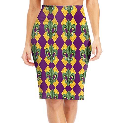 Antonia Bellamy Fleur De Lis Mardi Gras Pattern Womens High Waist Stretchy Knee Length Bodycon Midi Pencil Skirt